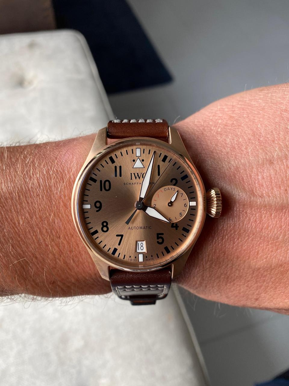 """<div class=""""caption""""> The one-of-one IWC Big Pilot's watch that Johann Rupert gave Tom Brady to commemorate his Super Bowl 51 victory. </div>"""