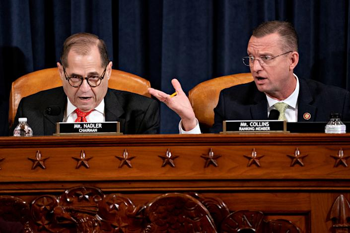 Representative Jerry Nadler, a Democrat from New York and Chairman of the House Judiciary Committee and Ranking Member Representative Doug Collins, a Republican from Georgia, speak during a hearing in Washington, D.C., U.S., on Thursday, Dec. 12, 2019. (Photo: Andrew Harrer/Pool via Reuters)