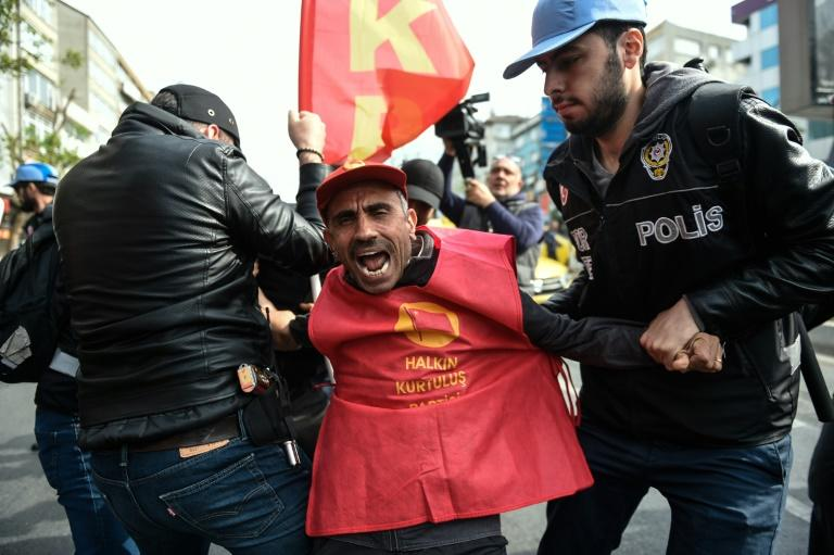 Turkish riot police clash with protesters attempting to defy a May Day ban to march on Taksim Square