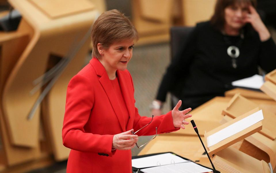 First Minister Nicola Sturgeon attends Scottish Parliament in Holyrood where she delivered an update on Scotland's measures in response to the coronavirus pandemic - Getty Images Europe
