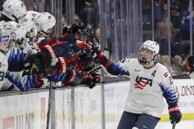 United States' Hilary Knight celebrates after scoring against Canada during the first period of a Rivalry Series hockey game in Anaheim, Calif., Saturday, Feb. 8, 2020. (AP Photo/Chris Carlson)