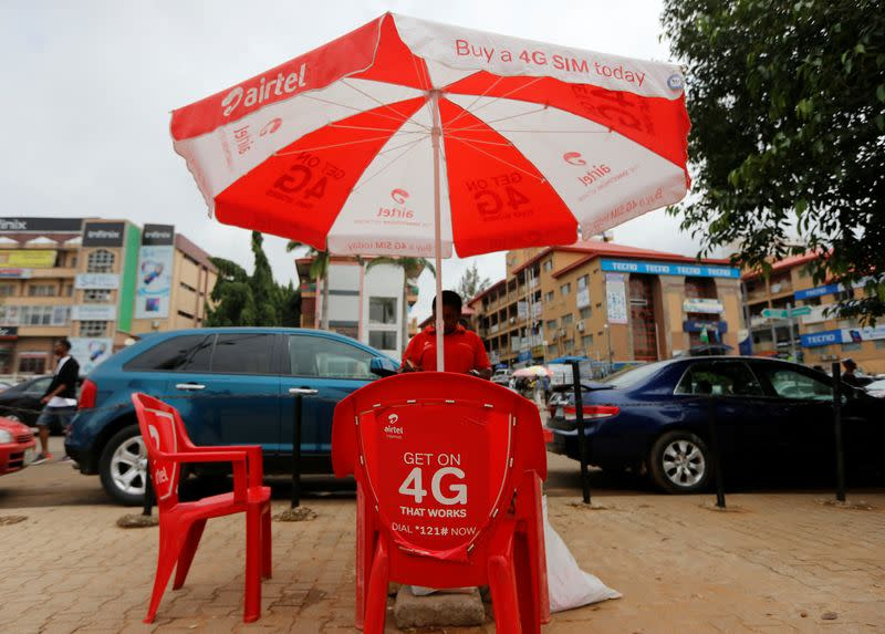 Logo of telecommunications company Airtel is pictured in Abuja