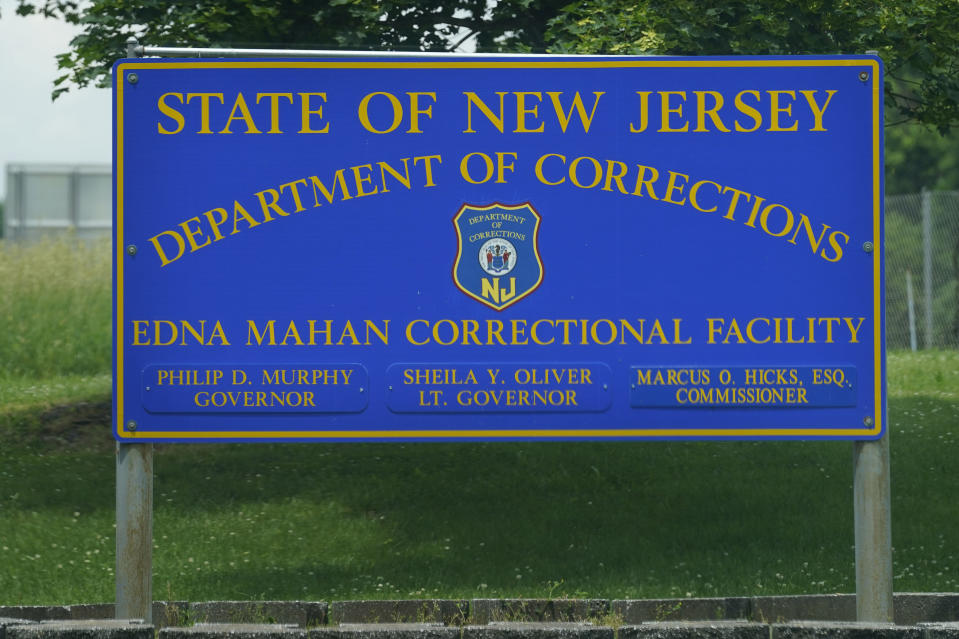 A sign is displayed at the entrance to the Edna Mahan Correctional Facility for Women in Clinton, N.J., Tuesday, June 8, 2021. New Jersey's embattled corrections commissioner announced his resignation Tuesday, a day after Gov. Phil Murphy said the state would shutter its long-troubled and only women's prison. (AP Photo/Seth Wenig)