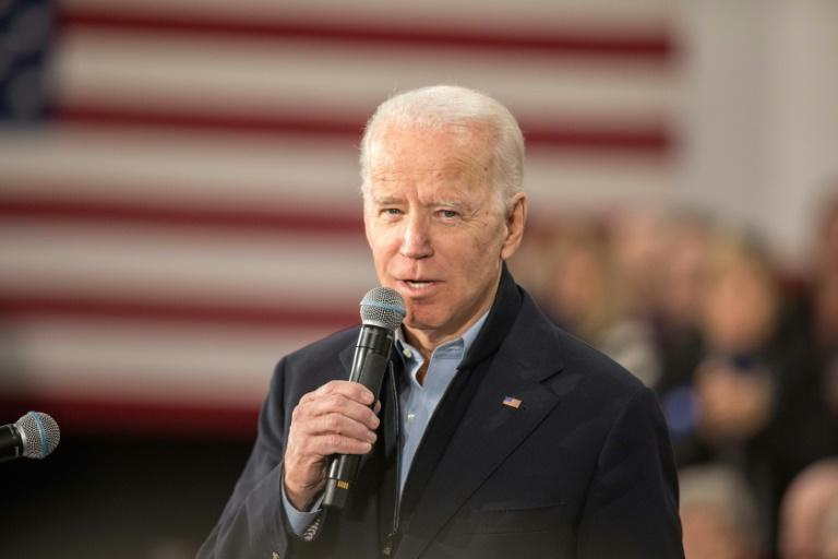 Democratic presidential candidate Joe Biden was trailing three challengers in the Iowa caucuses, according to partial results (AFP Photo/Scott Eisen)