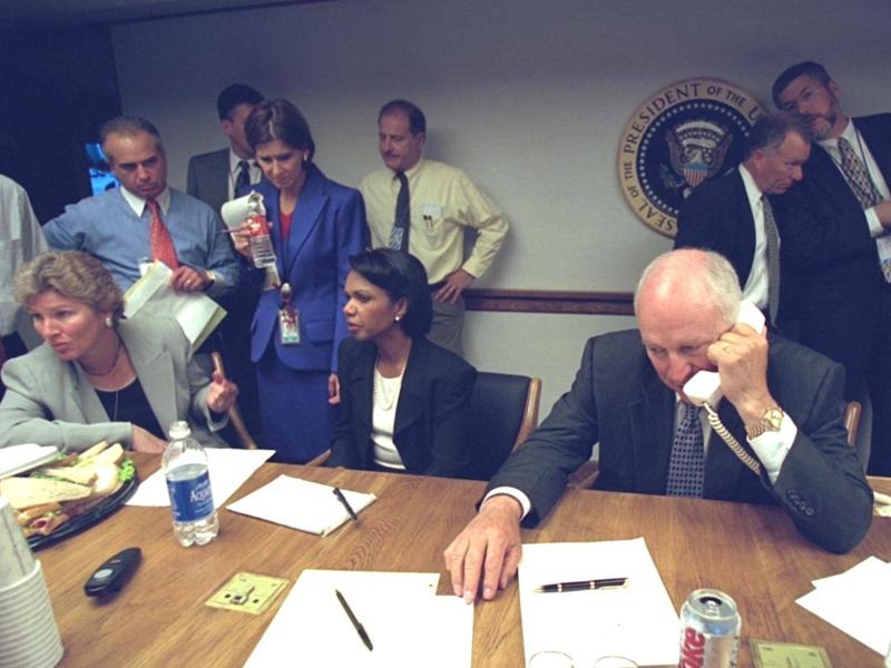 Senior White House staff in the Emergency Operations Centre following the 9/11 attacks (US National Archives)