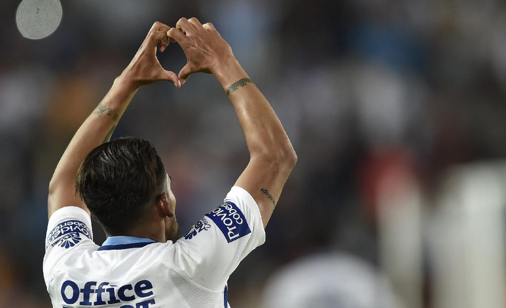 Pachuca's Franco Jara celebrates after scoring a goal against Tigres during their CONCACAF Champions League final match, at the Hidalgo stadium in Pachuca, Mexico, on April 26, 2017 (AFP Photo/Pedro Pardo)