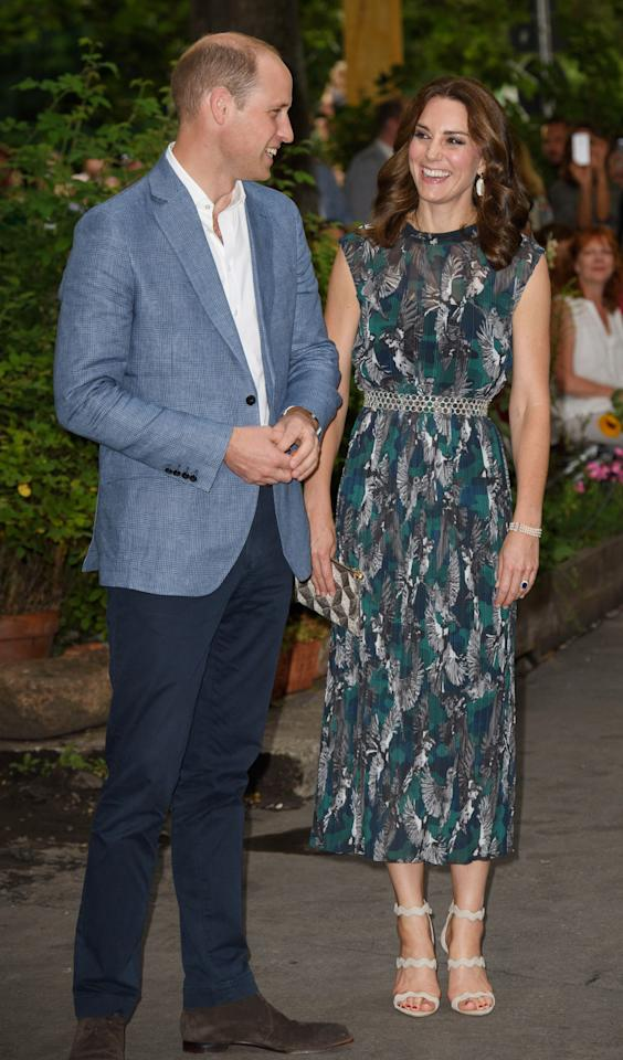 <p>The Duchess opted for a bold printed dress by German designer Markus Lupfer, for a reception at Berlin's Clärchens Ballhaus.</p>