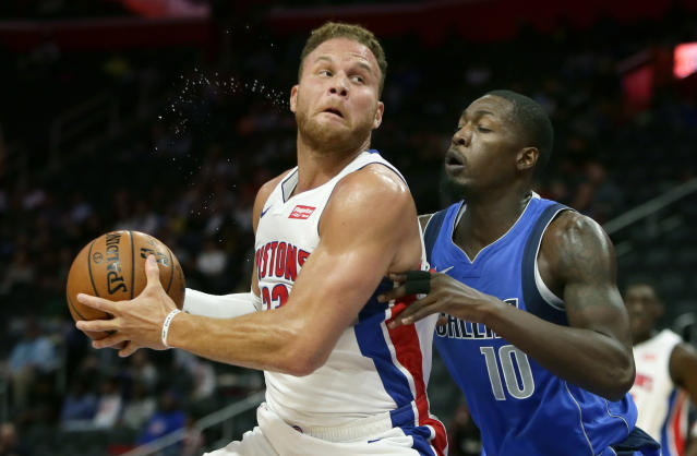 Detroit Pistons forward Blake Griffin (23) goes to the basket against Dallas Mavericks forward Dorian Finney-Smith (10) during the first half of an NBA preseason basketball game Wednesday, Oct. 9, 2019, in Detroit. (AP Photo/Duane Burleson)
