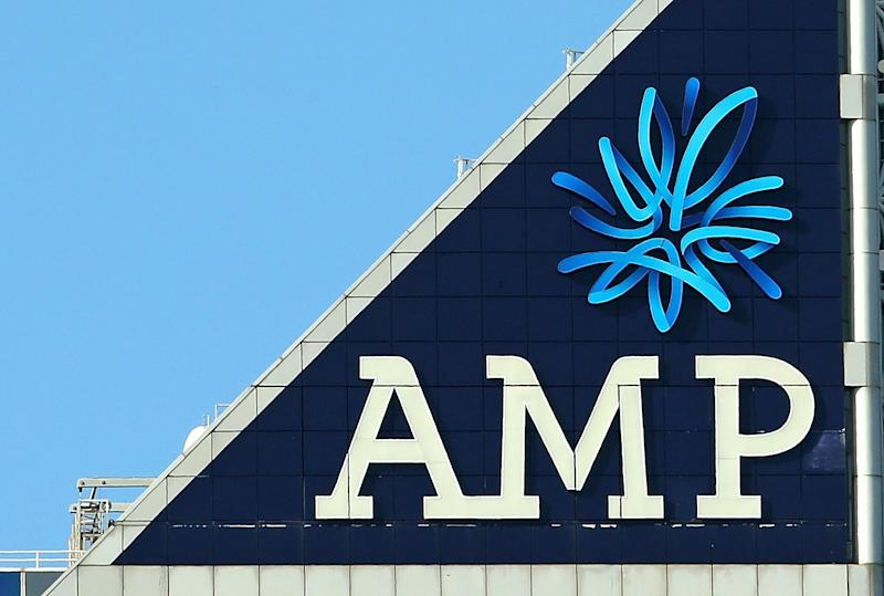 MELBOURNE, AUSTRALIA - AUGUST 20: The AMP logo is seen on the AMP building on August 20, 2015 in Melbourne, Australia. AMP has posted a 33 per cent increase in its first-half profit, while the wealth management company's underlying profit is up 12 percent to 570 million. (Photo by Scott Barbour/Getty Images)