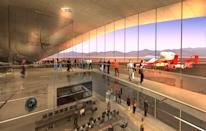 2007 design rendering of the Spaceport America interior, which will be home to Virgin Galactic's fleet of spaceships.