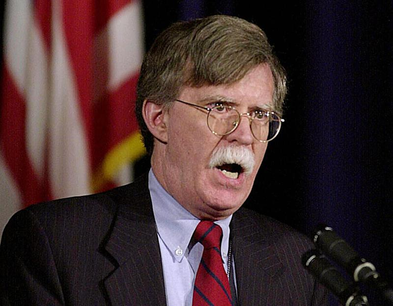 U.S. Under Secretary of State for Arms Control and International Security Affairs John R. Bolton speaks in 2003 at the Institute for Foreign Policy Analysis in Washington DC. (Photo Joyce Naltchayan/AFP via Getty Images)