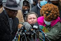 Katie Wright, mother of slain African American man Daunte Wright, was joined at a press event in Minneapolis where relatives of George Floyd, a Black man killed by police in 2020, offered solidarity and support