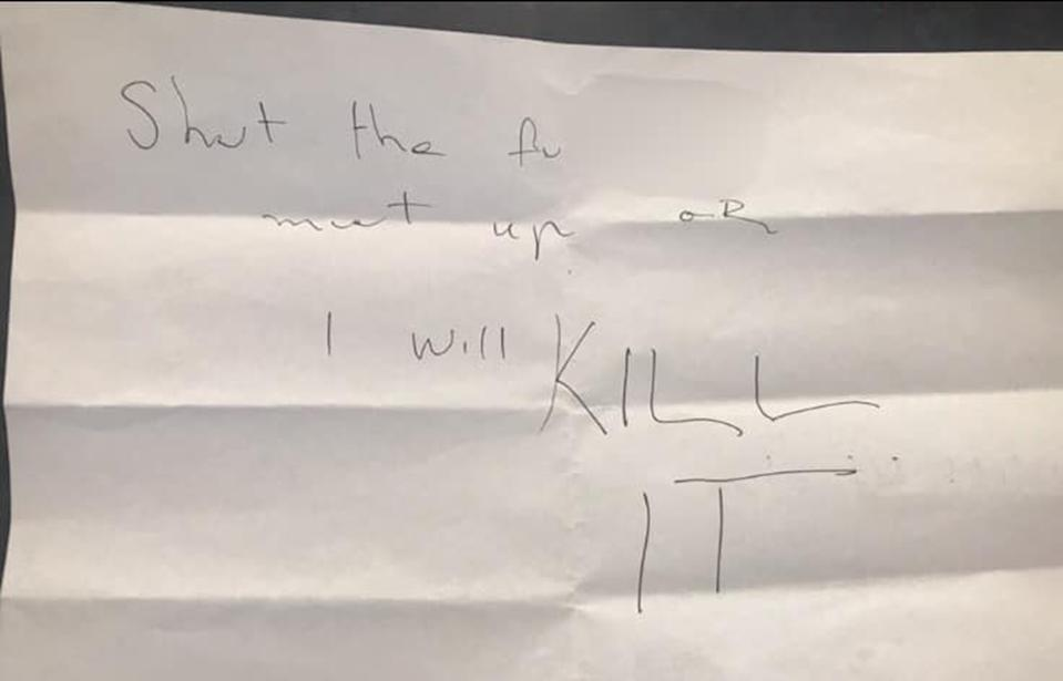 Maryborough woman Lauren Fletcher received this sinister letter, threatening to her dog will be killed.
