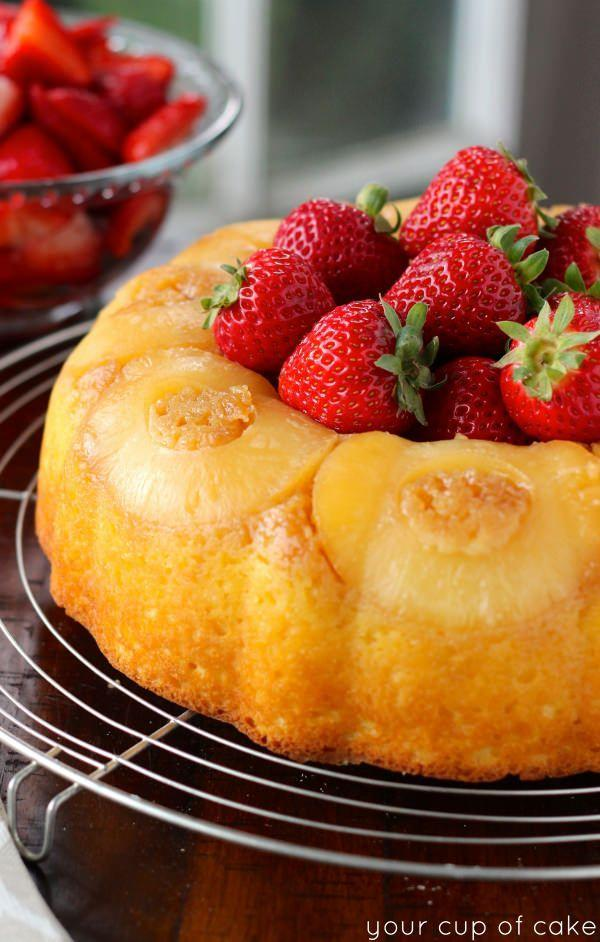 """<p><span>So sweet, it doesn't even need frosting.</span></p><p><span>Get the recipe from </span><a href=""""http://www.yourcupofcake.com/2014/04/pineapple-bundt-cake-sweet-strawberries.html"""" rel=""""nofollow noopener"""" target=""""_blank"""" data-ylk=""""slk:Your Cup of Cake"""" class=""""link rapid-noclick-resp"""">Your Cup of Cake</a><span>.</span><br></p>"""