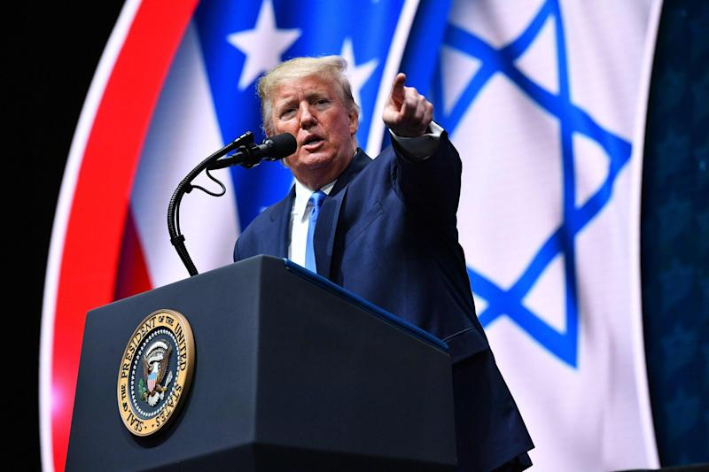 Donald Trump addresses the Israeli American Council National Summit in Florida: AFP via Getty Images
