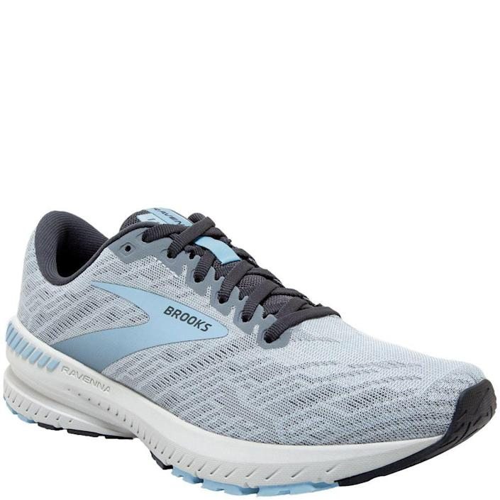 """<p><strong>Brooks</strong></p><p>amazon.com</p><p><strong>$84.95</strong></p><p><a href=""""https://www.amazon.com/dp/B082DM9STX?tag=syn-yahoo-20&ascsubtag=%5Bartid%7C2142.g.36364738%5Bsrc%7Cyahoo-us"""" rel=""""nofollow noopener"""" target=""""_blank"""" data-ylk=""""slk:Shop Now"""" class=""""link rapid-noclick-resp"""">Shop Now</a></p><p>Although an older model from Brooks, the Ravenna 11 delivers long-lasting, and environmentally-friendly, BioMoGo DNA cushioning, a guide rails system for support, and a locked-in fit for smooth heel-to-toe transitioning. </p>"""