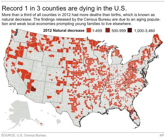 Graphic shows counties in the U.S. which have reported more deaths than births in