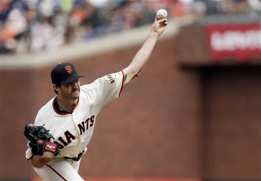 San Francisco Giants starting pitcher Barry Zito throws to the Philadelphia Phillies during the seventh inning of a baseball game Wednesday, May 8, 2013, in San Francisco. (AP Photo/Marcio Jose Sanchez)