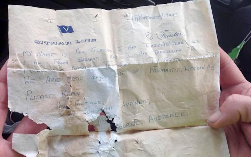 The note was written by a 13-year-old English boy, Paul Gibson - Mercury Press