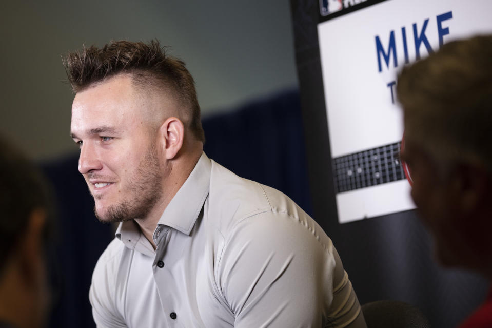 CLEVELAND, OH - JULY 08: Mike Trout #27 of the Los Angeles Angels speaks to the media during All-Star Media Availability at Progressive Field on Monday, July 8, 2019 in Cleveland, Ohio. (Photo by Mary DeCicco/MLB Photos via Getty Images)