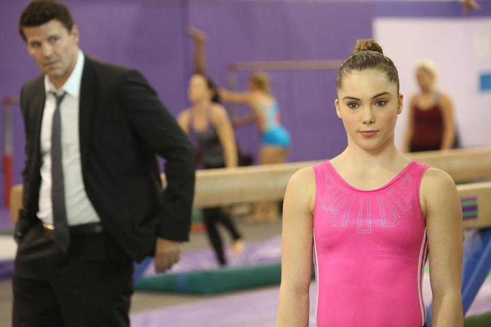 """<p>But first, acting. Maroney appeared in the """"Spark in the Park"""" episode of BONES in 2013 as - no surprise - a gymnast. (FOX/Getty) </p>"""
