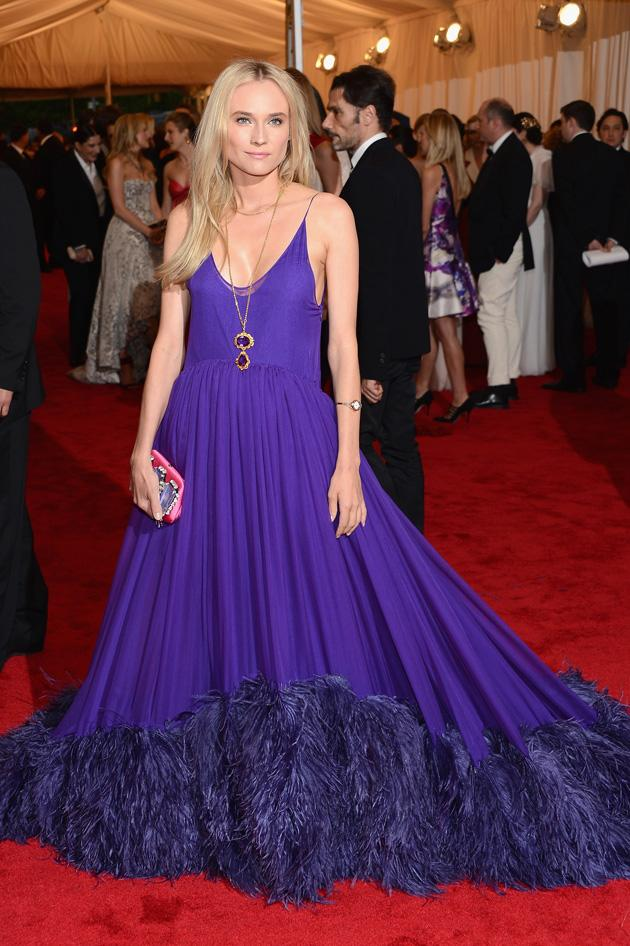 Diane Kruger wore a purple Prada feathery concoction / Getty