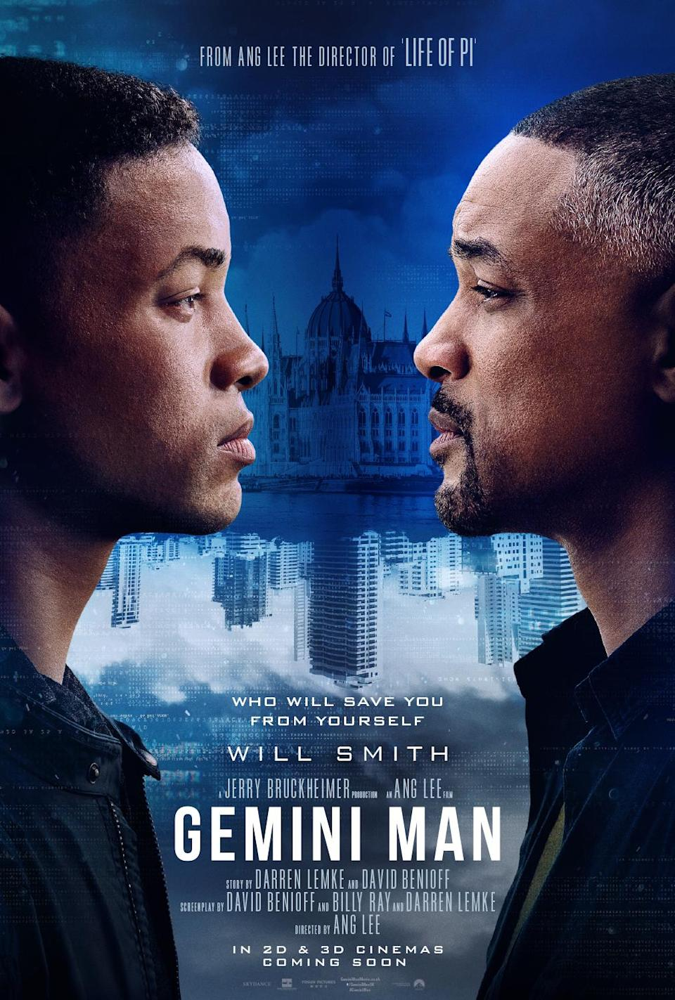 Kill Will… The Fresh Prince takes on Uncle Phil in the first poster for <i>Gemini Man</i> (Paramount)