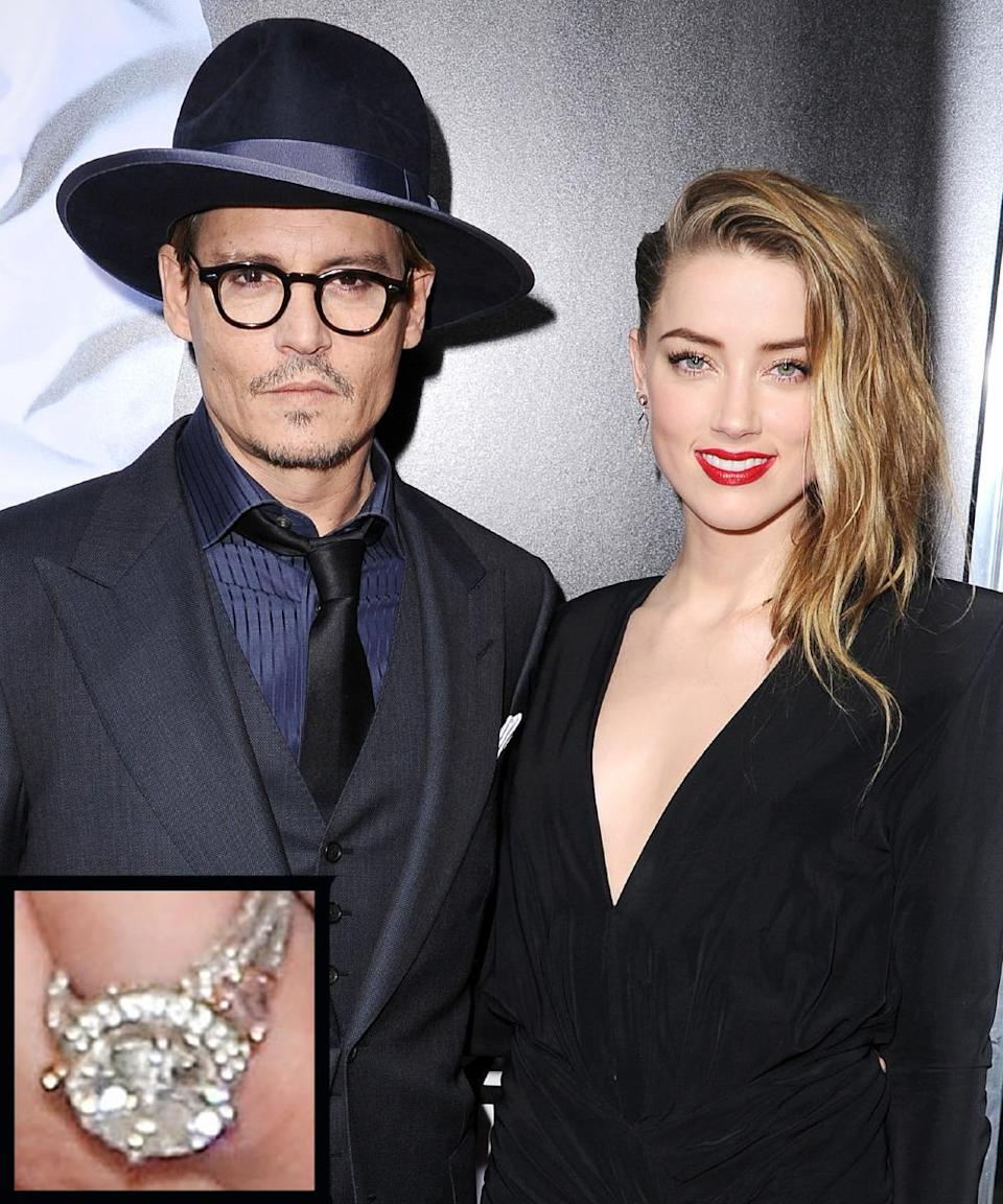 <p>In March 2014, Johnny Depp confirmed his engagement to Amber Heard by showing off her giant round diamond. The couple wed in February 2015.</p>
