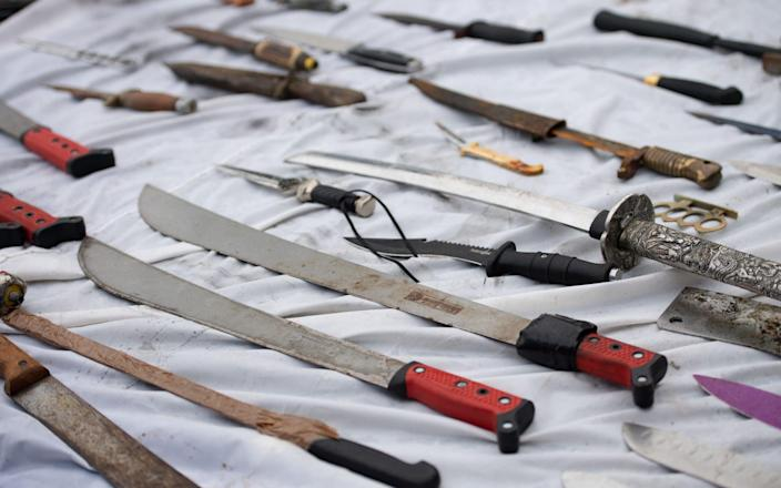 Knives surrendered to West Midlands Police - Jacob King/PA