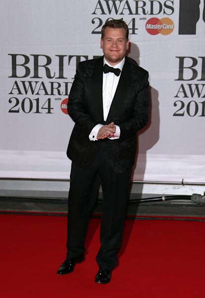 British actor James Corden arrives at the BRIT Awards 2014 at the O2 Arena in London on Wednesday, Feb. 19, 2014. (Photo by Joel Ryan/Invision/AP)