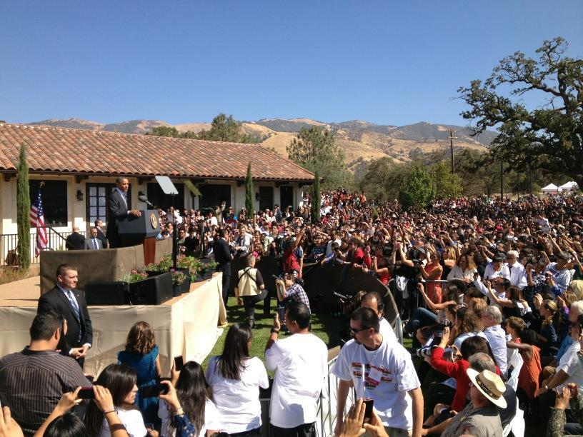 Pres Obama speaking at Cesar Chavez National Monument in remote Keene, CA.