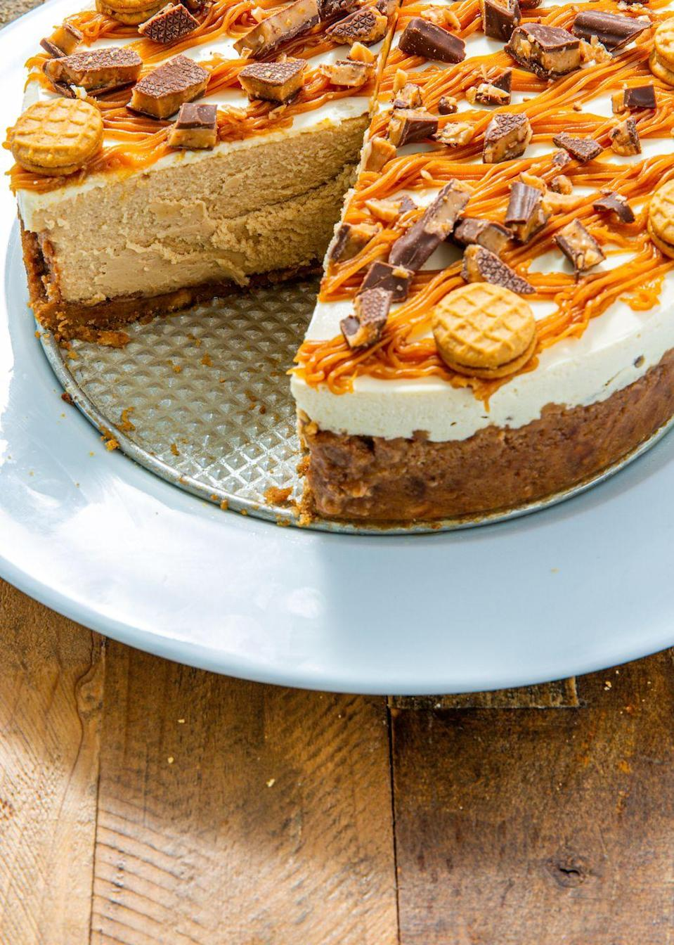 """<p>There's no such thing as too much peanut butter. </p><p>Get the recipe from <a href=""""https://www.delish.com/cooking/recipe-ideas/a29667085/nutter-butter-cheesecake-recipe/"""" rel=""""nofollow noopener"""" target=""""_blank"""" data-ylk=""""slk:Delish"""" class=""""link rapid-noclick-resp"""">Delish</a>. </p>"""