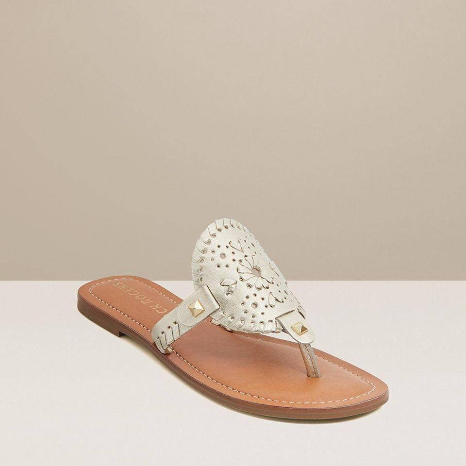 "<p>jackrogersusa.com</p><p><a href=""https://go.redirectingat.com?id=74968X1596630&url=https%3A%2F%2Fwww.jackrogersusa.com%2Fproducts%2Fgeorgica-mae-sandal-platinum&sref=https%3A%2F%2Fwww.townandcountrymag.com%2Fstyle%2Ffashion-trends%2Fg35863950%2Fjack-roger-spring-2021-sale%2F"" rel=""nofollow noopener"" target=""_blank"" data-ylk=""slk:Shop Now"" class=""link rapid-noclick-resp"">Shop Now</a></p><p>$81</p><p><em>Original Price: $108 </em></p>"