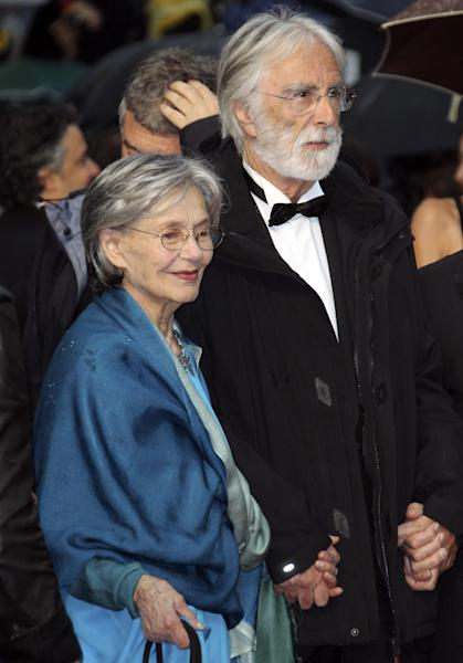 Director Michael Haneke, right, and actress Emmanuelle Riva arrive for the awards ceremony at the 65th international film festival, in Cannes, southern France, Sunday, May 27, 2012. (AP Photo/Joel Ryan)
