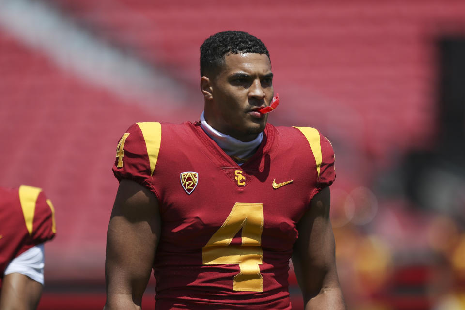 LOS ANGELES, CALIFORNIA - APRIL 17: Wide receiver Bru McCoy #4 of the USC Trojans warms up before the spring game at Los Angeles Coliseum on April 17, 2021 in Los Angeles, California. (Photo by Meg Oliphant/Getty Images)