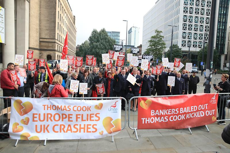 Former Thomas Cook cabin crew and staff protesting outside the Manchester Convention Centre at the Conservative Party Conference.