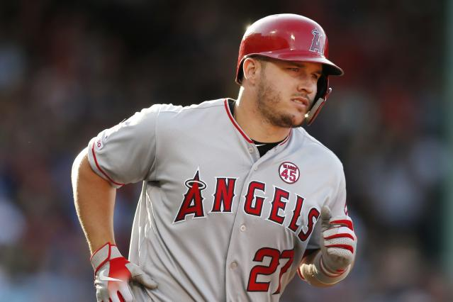 "MLB and MLBA say no MLB player, including <a class=""link rapid-noclick-resp"" href=""/mlb/players/8861/"" data-ylk=""slk:Mike Trout"">Mike Trout</a>, has been granted a TUE for HGH. (AP Photo/Michael Dwyer)"