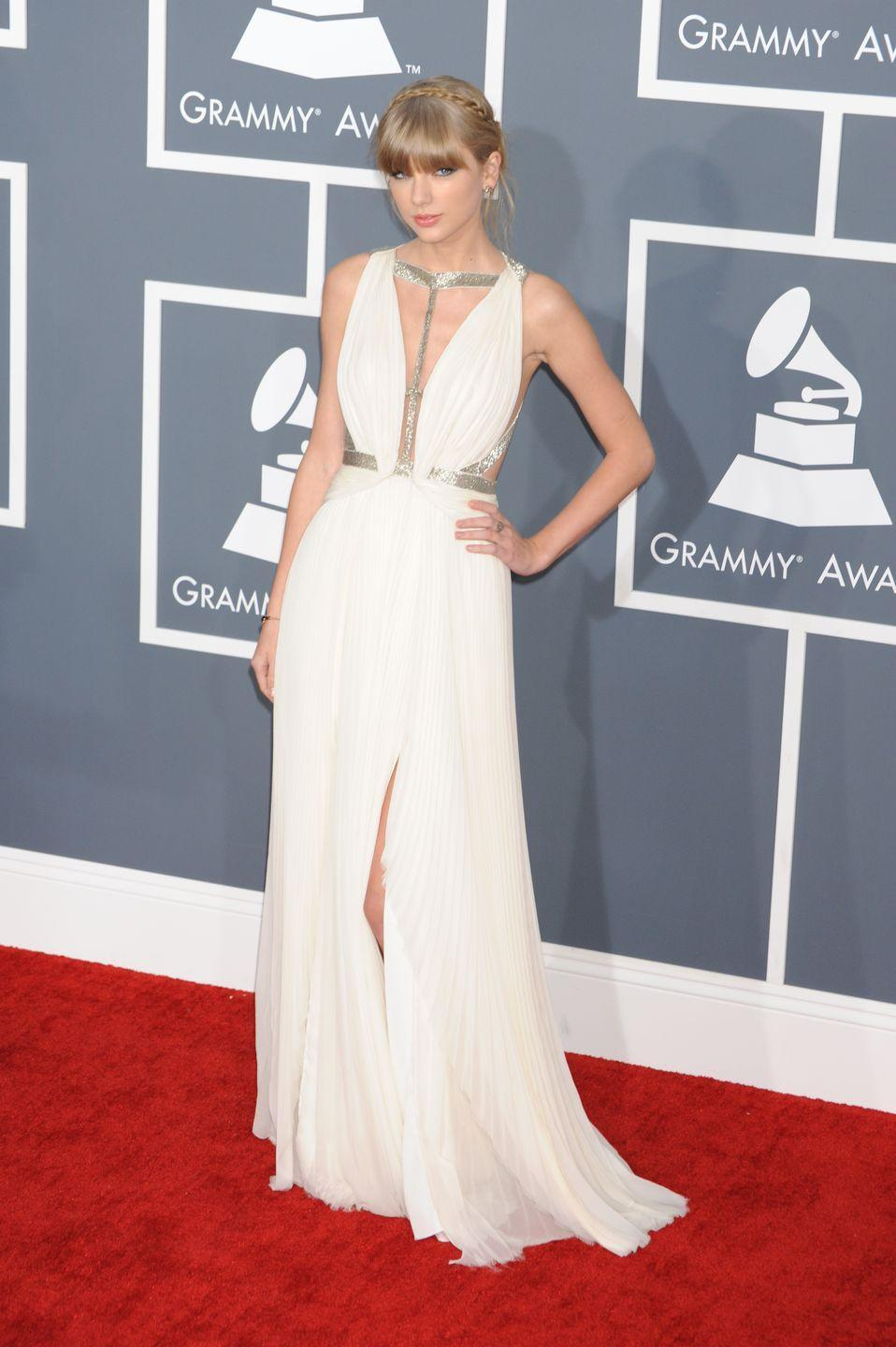 <p>Taylor Swift gave off serious Grecian goddess vibes at the 2013 Grammys when she wore this J.Mendel gown.</p><p> 10/10 for the braided hair look too.</p>