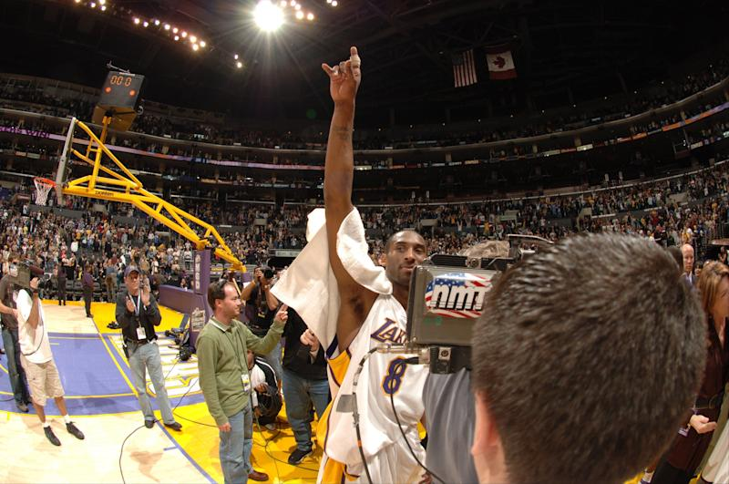 LOS ANGELES - JANUARY 22: Kobe Bryant #8 of the Los Angeles Lakers walks off the court after scoring 81 points against the Toronto Raptors on January 22, 2006 at Staples Center in Los Angeles, California. Bryant scored 81 points in the Lakers 122-104 win over the Raptors. NOTE TO USER: User expressly acknowledges and agrees that, by downloading and/or using this Photograph, user is consenting to the terms and conditions of the Getty Images License Agreement. Mandatory Copyright Notice: Copyright 2006 NBAE (Photo by Noah Graham/NBAE via Getty Images)