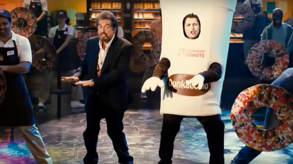 Al Pacino performed in a spoof Dunkin' Donuts advert in 'Jack and Jill'. (Credit: Sony)