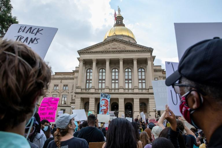 Protesters gather at the Georgia State Capitol following the death of Rayshard Brooks (AFP Photo/Dustin Chambers)