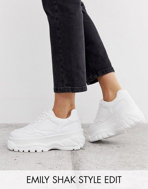 "<br><br><strong>ASOS DESIGN</strong> Denmark Chunky Sneakers, $, available at <a href=""https://go.skimresources.com/?id=30283X879131&url=https%3A%2F%2Fwww.asos.com%2Fus%2Fasos-design%2Fasos-design-denmark-chunky-sneakers-in-white%2Fprd%2F12314026%3F"" rel=""nofollow noopener"" target=""_blank"" data-ylk=""slk:ASOS"" class=""link rapid-noclick-resp"">ASOS</a>"