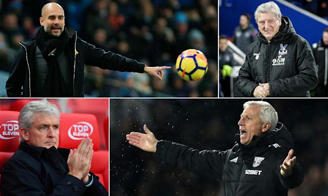 Clockwise from top left: Pep Guardiola and Roy Hodgson were among the winners of the Christmas progamme, in terms of results at least, while Alan Pardew suffered and Mark Hughes has now been sacked.