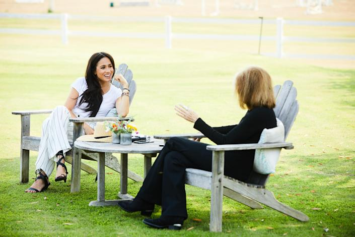 Meghan, The Duchess of Sussex and Gloria Steinem in conversation. (Photo by Matt Sayles; copyright the Duke and Duchess of Sussex)