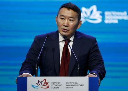 FILE PHOTO: President of Mongolia Khaltmaagiin Battulga delivers a speech during a session of the Eastern Economic Forum in Vladivostok