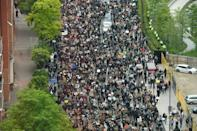 Thousands of people joined a protest outside parliament in London