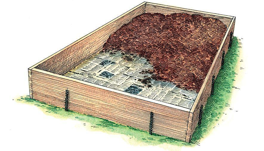 "<p class=""p1""><span class=""s1"">Line the bottom of your frame with newspaper or cardboard and wet it thoroughly. Finally, fill your bed with soil to within a few inches of the top.</span></p>"