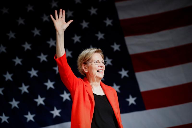 Democratic presidential candidate Sen. Elizabeth Warren, D-Mass., waves to the crowd during a campaign stop, Saturday, May 11, 2019, in Cincinnati. (AP Photo/John Minchillo)