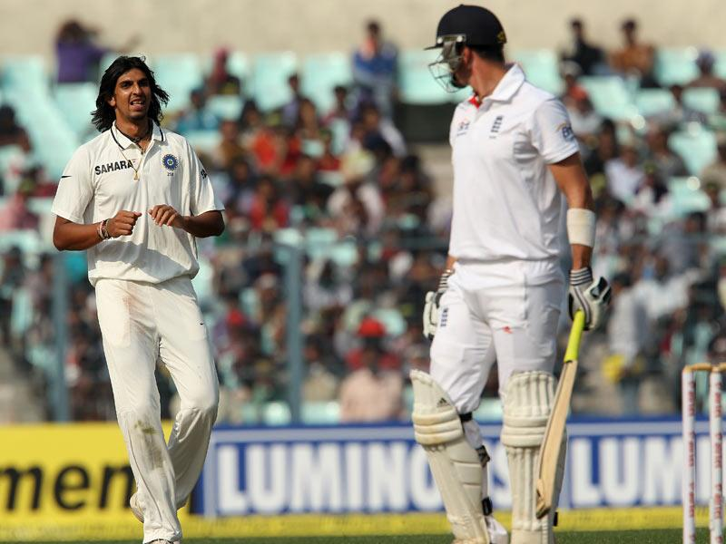 India's Ishant Sharma glares at England's Kevin Pietersen during Day 3 of the Eden Gardens Test match in Kolkata.