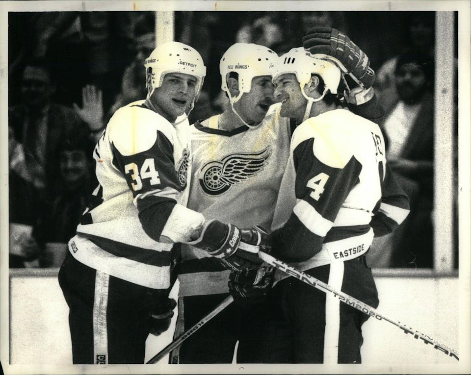 Jeff Sharples (34), was second among Red Wings defensemen in scoring with 35 points in his rookie season of 1987-88.